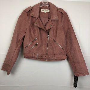 Sebby Moto Faux Sued Jacket in blush size L
